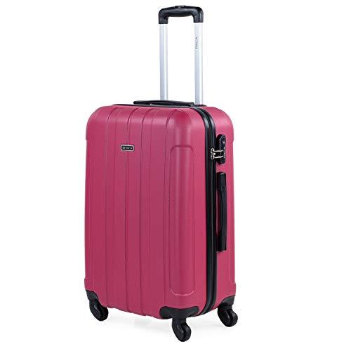 ITACA - Maleta de Viaje Rígida 4 Ruedas 63 cm Mediana ABS Lisa. para Estudiantes y Profesionales. Resistente y Ligera 771160, Color Fresa
