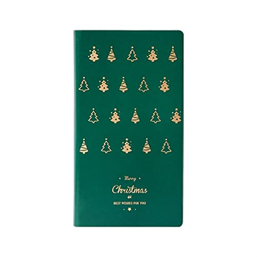 Diario de cuero del árbol de navidad Diario del diario Calendario de notas de papelería, adecuado para notas de clase y minutos de reuniones, el regalo perfecto para las niñas (Color : Green)