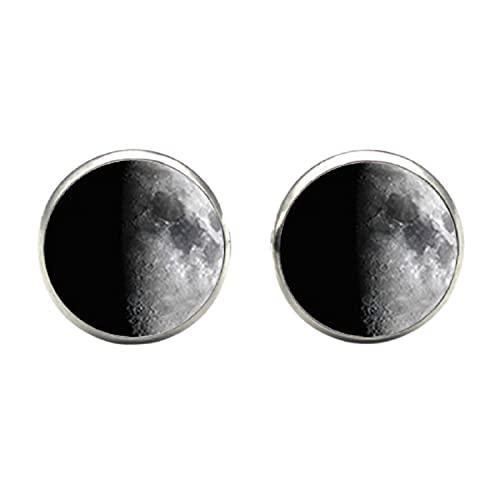 Total eclipse Full Moon Stud Pendientes Galaxy Universe Ear Nail Out of Space Pendientes Joyas Cristal Dome Pendientes Para Mujer Regalo