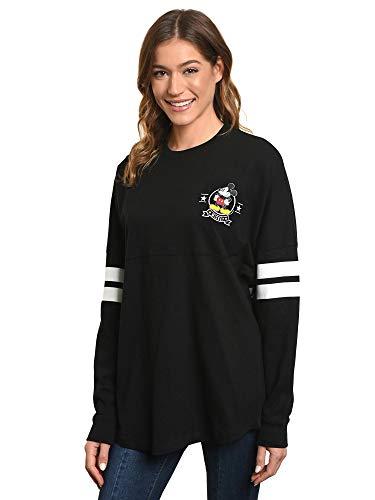 Disney Jersey Women's Mickey Mouse Long Sleeve Crew Neck (Black, Medium)