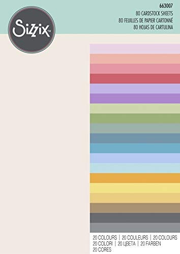 Sizzix Surfacez-Cardstock Sheets 663007, 80 Pack, 20 Colors, 29.7 x 20.999999999999996 x 2.2999999999999998 cm, Bold |