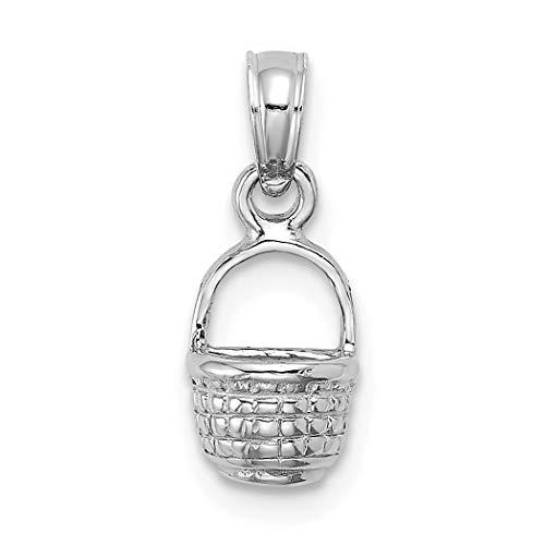 Mini colgante de cesta de oro blanco de 14 quilates con parte trasera plana 2-D