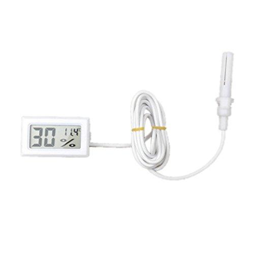 HARRYSTORE Mini Thermometer Hygrometer Digital LCD Display Temperatur Feuchtigkeit Meter mit 1,5 m Kabel (Weiß)