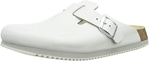 Birkenstock Unisex Clogs Boston Super-Running Work Shoes Natural Leather White Size 39-Normal Footbed, 7.5 US Women