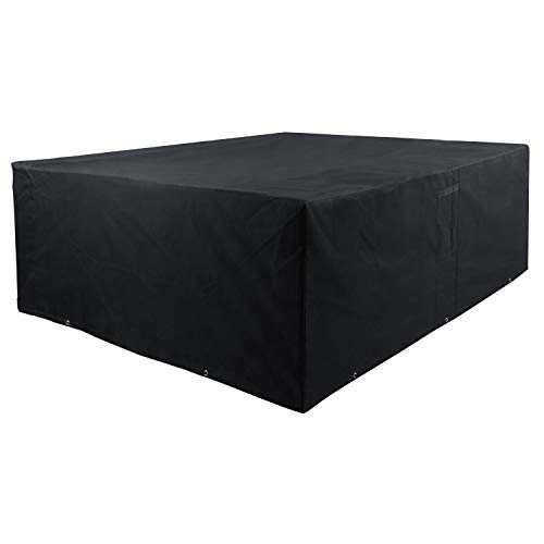 Meerveil Garden Furniture Cover,Outdoor Furniture Covers Waterproof Heavy Duty,250 X 200 X 80cm,Oxford Grattan Garden Furniture Cover, 600D Extra Large Rectangular Patio Cover, Black