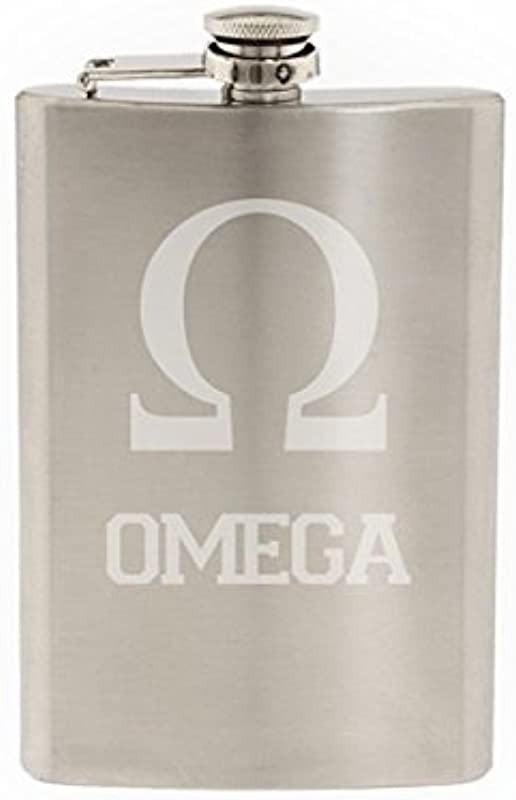 Greek Life Omega Etched 8 Oz Stainless Steel Flask