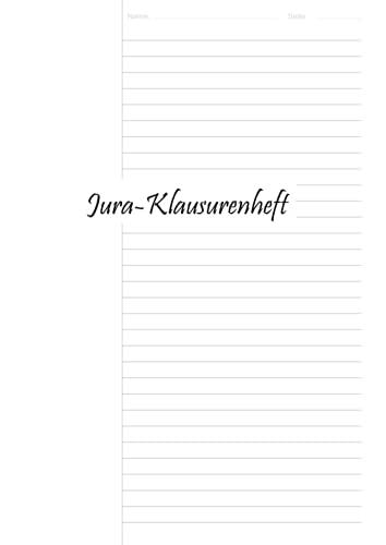 Jura-Klausurenheft DIN A 4 - 120 Seiten - 60 Blätter - einseitig bedruckt - ein Drittel Rand links