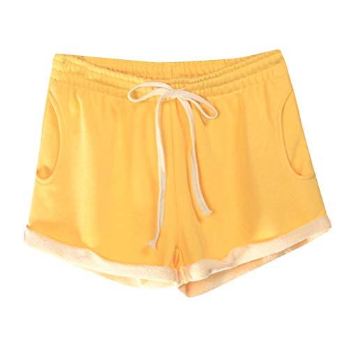 Calvinbi Sport Damen Hosen Sporthosen Yogahosen Gym Workout Outdoor Fitness Gamaschen Shorts Tasche Spitze Einfarbig Baumwolle Lose