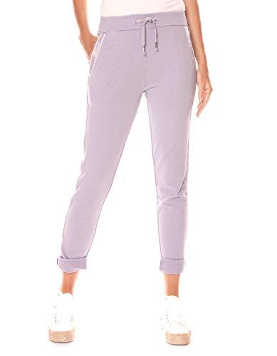 Easy Young Fashion Damen Hose Jogginghose Lang Sporthose Trainingshose Baumwolle Jogg Pants Sweatpants mit Seitenstreifen Lavendel 42