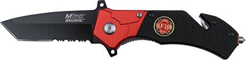 MTech USA MT-A836 Taschenmesser MT-A836 Serie, Messer STAHL OPTIK ROT Griff, scharfes Jagdmesser, Outdoormesser 7,62 cm ROSTFREI Klinge Halbgezahnt, Klappmesser für  Angeln/ Jagd