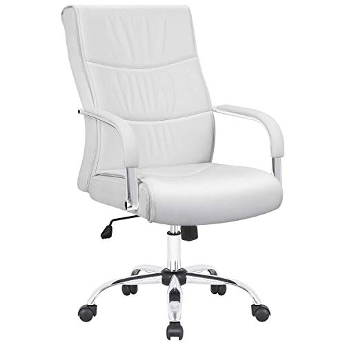 Furmax High Back Office Desk Chair Conference Leather Executive with Padded Armrests, Adjustable Ergonomic Swivel Task Chair with Lumbar Support (White)