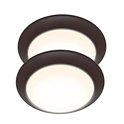 LIT-PaTH LED Flush Mount Ceiling Lighting Fixture, 9 Inch Dimmable 15.5W 1050 Lumen, Aluminum Housing Plus PC Cover, ETL and Damp Location Rated, 2-Pack (Bronze Finish-3000K)