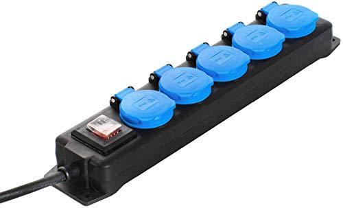 as - Schwabe 5-fach Verteilersteckdosenleiste mit Schalter – Schuko-Steckdosen im Mehrfachstecker mit 1,5 m Leitung – Steckdosenleiste für Baustellen geeignet- IP44 - Schwarz I 38609