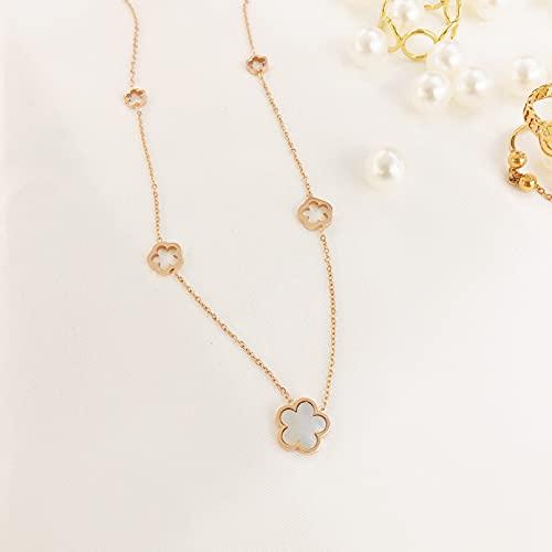 N/A Halskette Europäische Und Amerikanische Ebay-Muschelblume Titanstahl Halskette Weibliche Schlüsselbeinkette Modeanhänger Ür Geburtstag Weihnachte Frauen