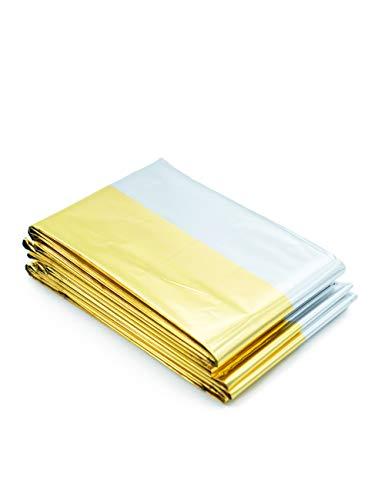 50 Stück | FLEXEO Rettungsdecke | gold/silber | 210cm x 160cm | Rettungsfolie | Notfall | Erste-Hilfe | Notfalldecke
