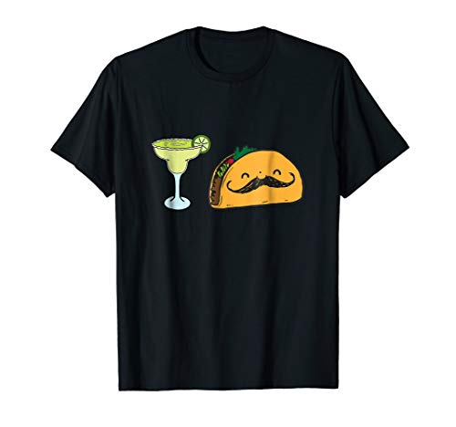 Fun Taco Mustache Margarita With Lime Mexican Food T-Shirt!