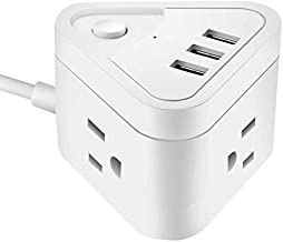 Small Power Strip with 3 USB Ports, 3 Outlet Portable Plug Strip with 5.5 Feet Extension Cord, Cruise Travel, Desktop Multi-Plug Outlet, Child Protectors Compact Socket, White