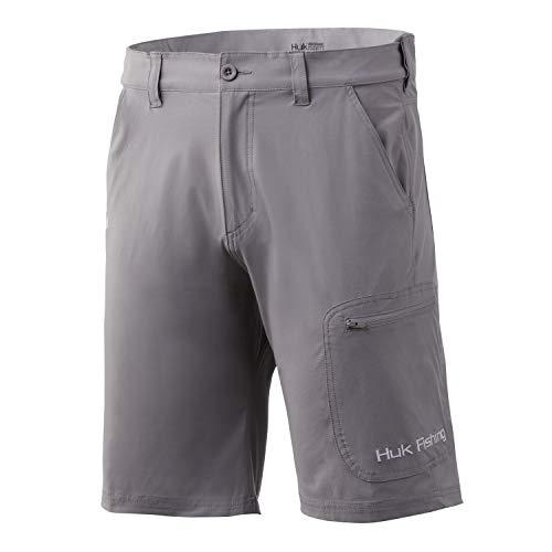 Huk Men's Standard Next Level Quick-Drying Performance Fishing Shorts, Grey-10.5