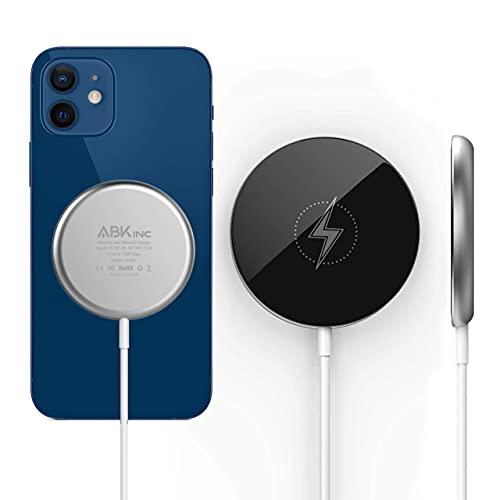 ABK Inc Cargador inalámbrico magnético rápido de 15 W compatible con Apple MagSafe cargador para iPhone 12/12 mini/12 Pro/12 Pro Max, AirPods Pro, Samsung, Sony, Huawei, Nokia.
