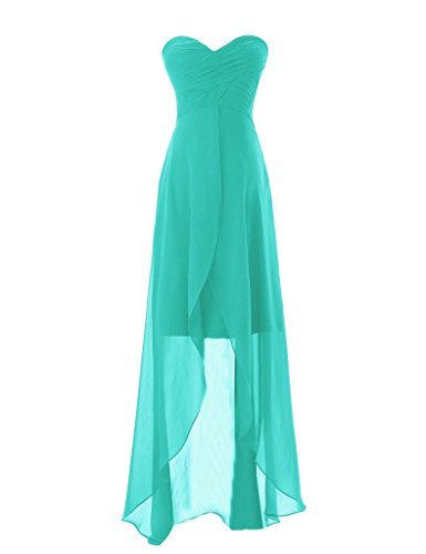 Promshow Women's Sweetheart High Low Chiffon Prom Party Dress Size 16 Tiffany