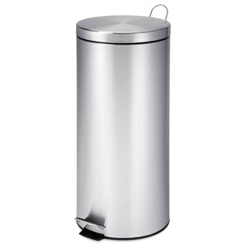 Honey-Can-Do TRS-02110 Round Stainless Steel Step Trash Can with Liner, Chrome, 30-Liter Per...
