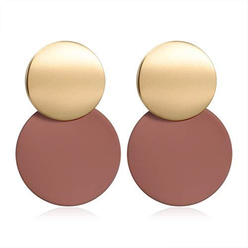 Pendientes for Las Mujeres geométrica cuelgan el Colgante #8 (Metal Color : Brown 4)