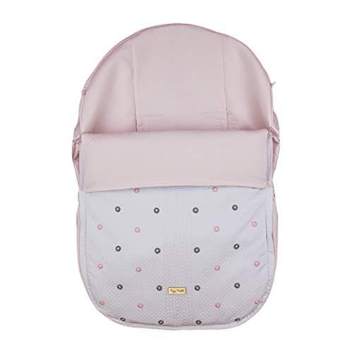 Funda + Saco Universal para Silla de coche GRUPO 0 Rosy Fuentes - Saco para Silla de Bebé Grupo 0 - Equipado para ser Ajustado perfectamente - Elaborado en Piqué bordado - Color blanco rosa