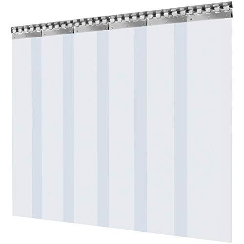 WE Cortina Puerta PVC Transparente Impermeable, 1 x 2 m, Material Impermeable Transparente PVC 6 Tiras Total, Cortina de Puerta PVC Ancho Total 1 m Cortina Puerta PVC Transparente