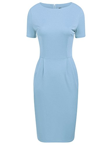 ANGVNS Women Elegant Short Sleeve Fitted Cotton Business Pencil Dress, Light Blue, M