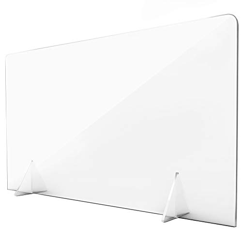 Protective Sneeze Guard Sheild for Counter and Desk Freestanding for Business and Customer Safety, Portable Plexiglass Barrier, Shield and Guard for Business, School (24' W x 16' T 1/8' thk)