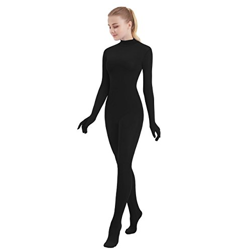Womens One Piece Unitard Full Body Suit Spandex Skin Tights (Large, Black)