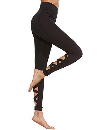 SweatyRocks Women's Cutout Leggings Skinny Yoga Pants Runing Jogger Active Tight #2Black L