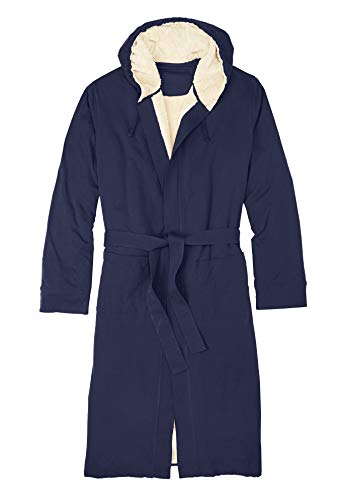 KingSize Men's Big & Tall Sherpa-Lined Robe - Tall - 2XL/3X, Navy