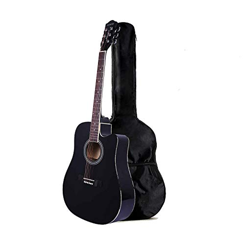 Kadence Frontier Series Acoustic Guitar with Truss Rod Jumbo 41 inch, Black With Die Cast Keys