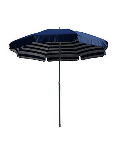 Maffei art181abluriga Venezia Alu Parasol Rond, mat aluminium, cm 200, coton duplex. Fabriquéen Italie, Blanc/Bleu