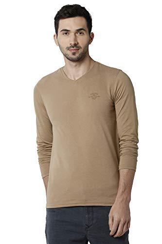 Peter England Men's Solid Slim Fit T-Shirt (PJKCJSNFE38263_Black_S)