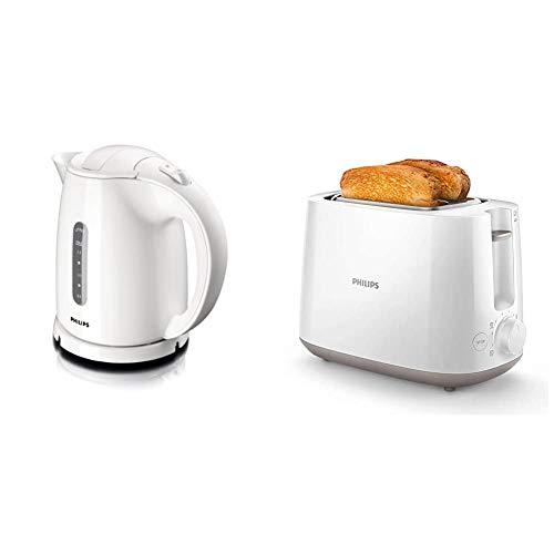 Philips HD4646/00 Serie Wasserkocher (1,5 Liter, 2400 Watt, Anti-Kalk), weiß + Philips HD2581/00 Toaster, integrierter Brötchenaufsatz, 8 Bräunungsstufen, weiß
