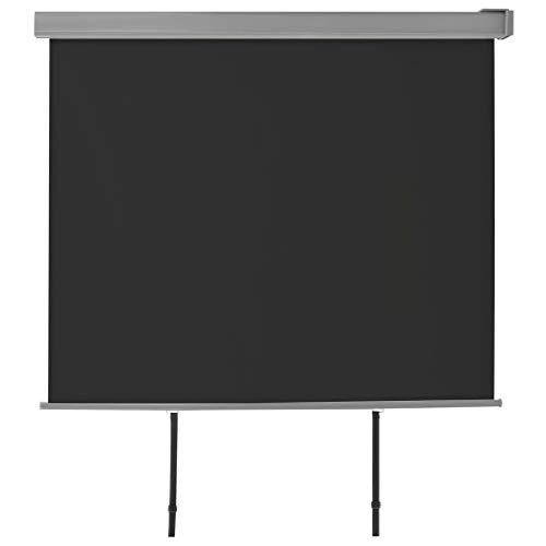 UnfadeMemory Balkon-Seitenmarkise Multifunktional Balkonsichtschutz Einziehbar Balkonmarkise Automatisch Rollen Wind-/Sichtschutz Wandmontage Aluminiumrahmen (150 x 200 cm, Schwarz)