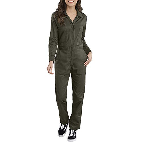 Dickies Women's Long Sleeve Cotton Twill Coverall, Moss, Extra Large