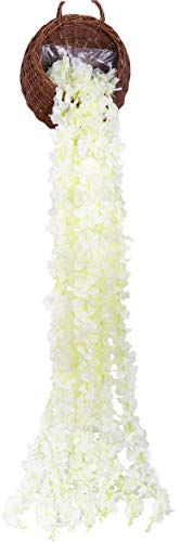 LNHOMY 33 FT Artificial Hydrangea Vines Flowes Fake Wisteria Garland Flower Cattleya Plants for Home Wedding Arch Garden Wall Decor, Pack of 5 (Cream White)