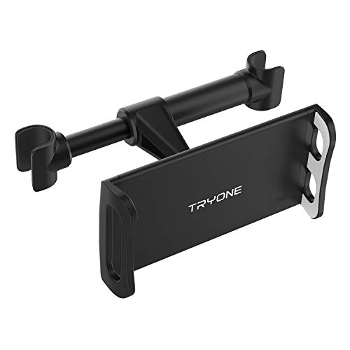 Tryone Tablet Halterung Auto, Kopfstütze Tablet Halter - Kfz-Kopfstützenhalterung für iPad iPhone Serie/Samsung Galaxy Tabs/Kindle Fire HD usw. 4,7-10,5 Zoll Geräte(Schwarz)