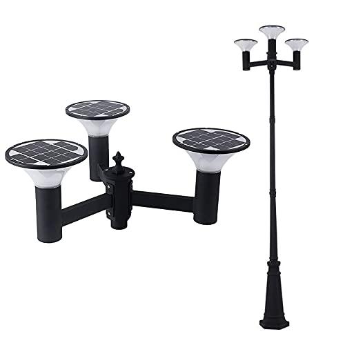 WRMING Farola de Exterior Solar con Sensor crepuscular LED Jardín Lámpara de Pie IP65 Aluminio Farol de Jardín negro Pedestal Poste Iluminación de Caminos, 3000K/4000K/6000K, 5W*3, H250cm