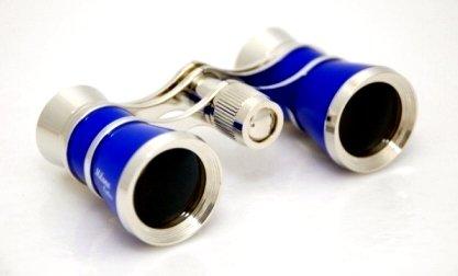 Finissimo Optics 3x25 Traditional Blue Opera Glasses / Theater Binoculars / with Gold Trim