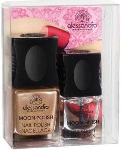 Alessandro Go Magic! MOON Manicure Nagellack Nail Polish Inhalt: Moon Polish Nail Polish Special Effecktlack (Grau / Orange) Inhalt: 10ml, 3 x Schablonen und Top Coat (Transparent) Inhalt: 5ml . Nagellack - Set