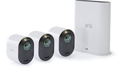 Arlo Ultra 4K - Sistema de seguridad y luz Smart (3 unidades, recargable, audio, libre de cables con visión diurna/nocturna, interior/exterior, funciona con Amazon Alexa) VMS5340