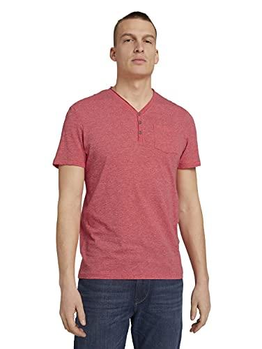 TOM TAILOR Herren 1026002 Henley T-Shirt, 27053-Plain Red Grindle Melangé, 3XL