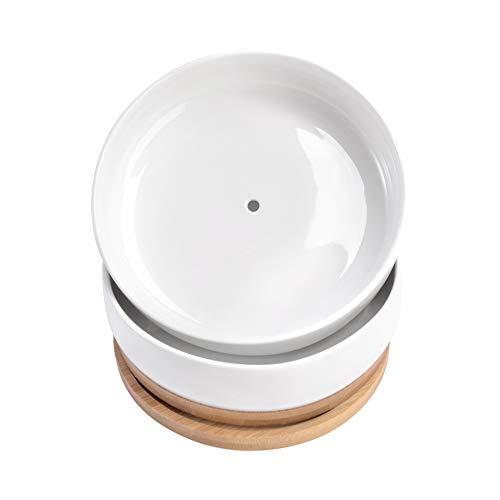 Betrome Weißer Keramik-Übertopf für Sukkulenten, 15,2 cm, moderner runder Kaktus-Topf mit Drainage, Bambus-Tablett, dekorative Blumenschale, Übertopf (2er-Set)