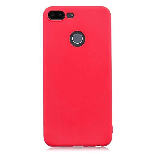 cuzz Funda para Huawei Honor 9 Lite+{Protector de Pantalla de Vidrio Templado} Carcasa Silicona Suave Gel Rasguño y Resistente Teléfono Móvil Cover-Rojo