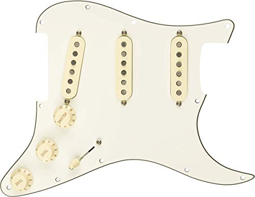 Guardabarros para guitarra eléctrica Fender Pre-Wired Strat Pickguard, Custom '69 SSS, blanco