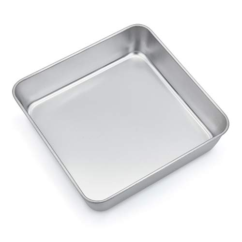 TeamFar 8 Inch Square Baking Pan, Square Cake Brownie Pan Stainless Steel for Wedding Christmas Party, Healthy & Non Toxic, Durable & Brushed Surface, Dishwasher Safe